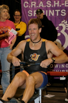 Ross Hawkins rowing at the World Indoor Rowing Championship